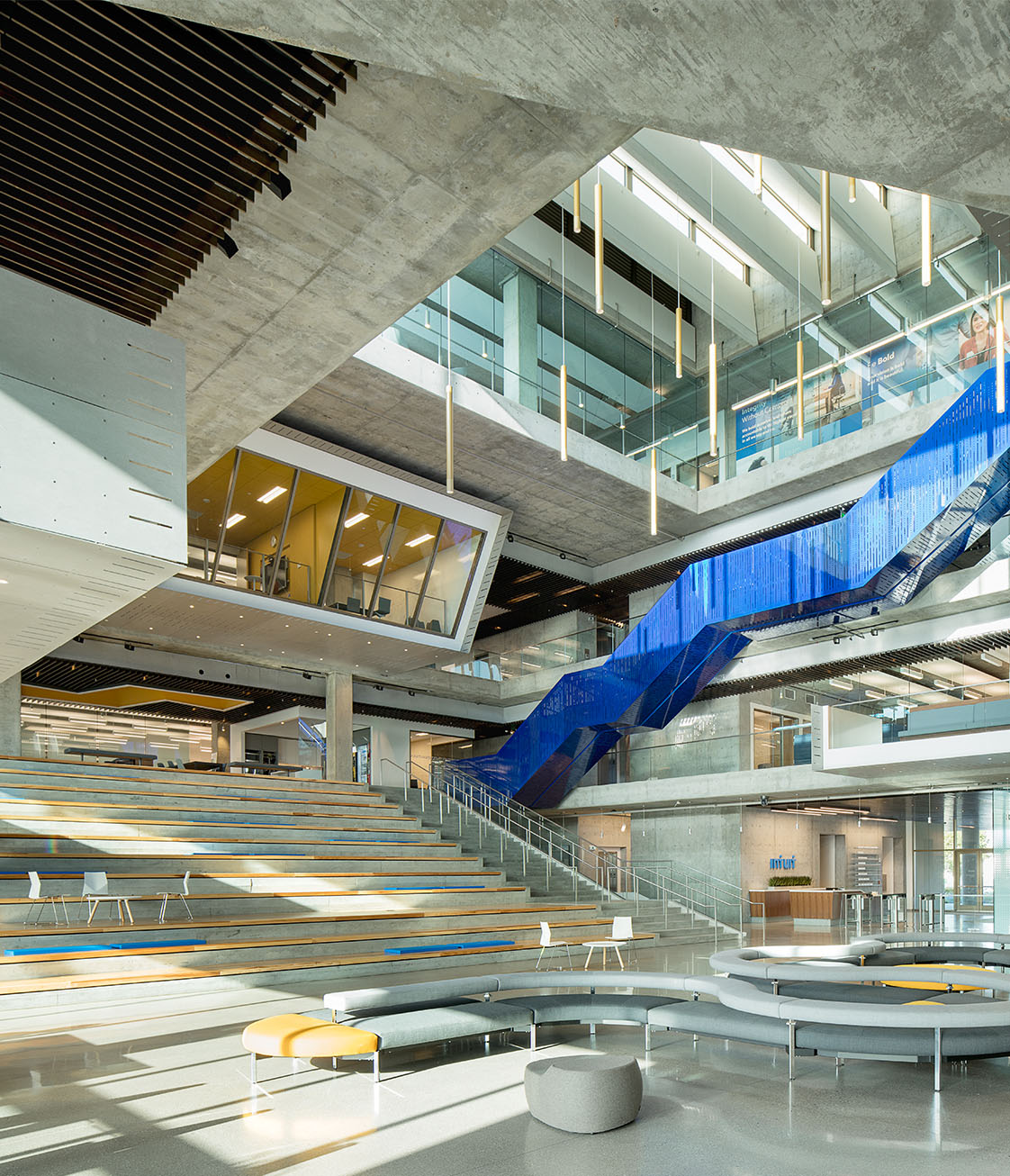 Intuit interior lobby with feature stair, atrium, conference room - no people