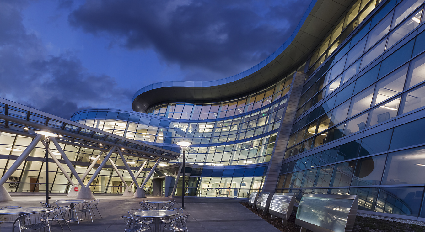 Salt Lake City Public Safety Building's Curved Facade at Night