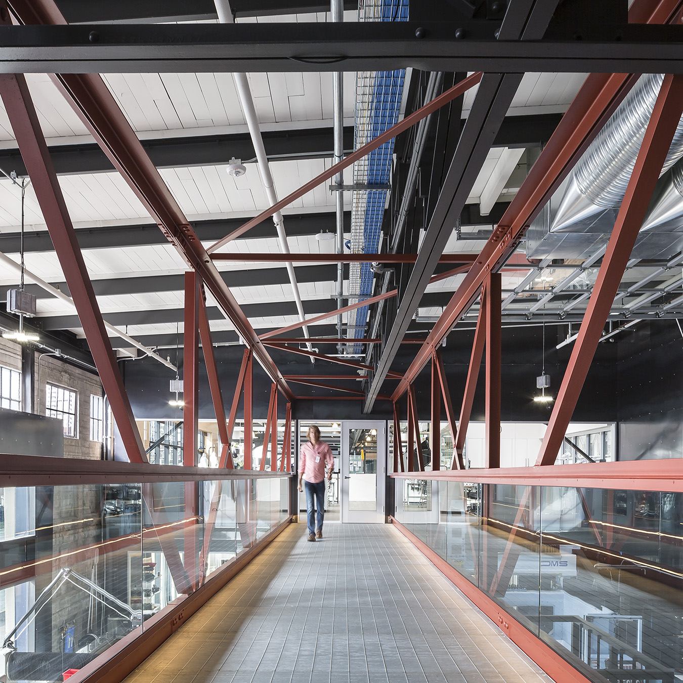Autodesk Pier 9 San Francisco Pedestrian Bridge on Mezzanine Level with Trusses