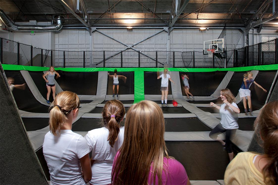 Presidio House of Air Girls Play Trampoline Basketball