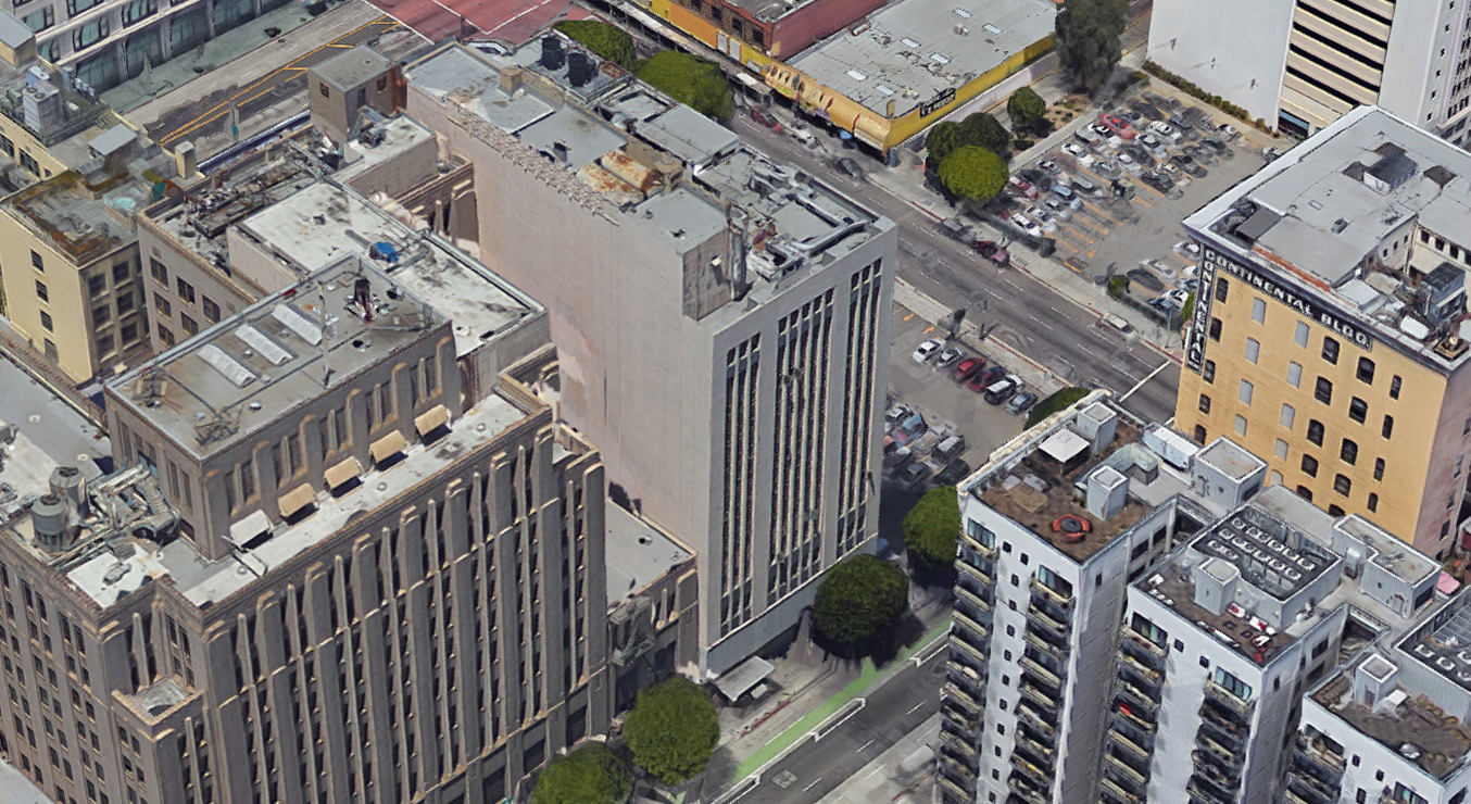Aerial View of 419 S. Spring Street Los Angeles
