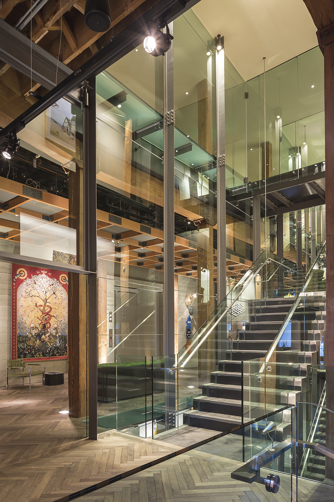 The Battery San Francisco Interior Glass Stairs