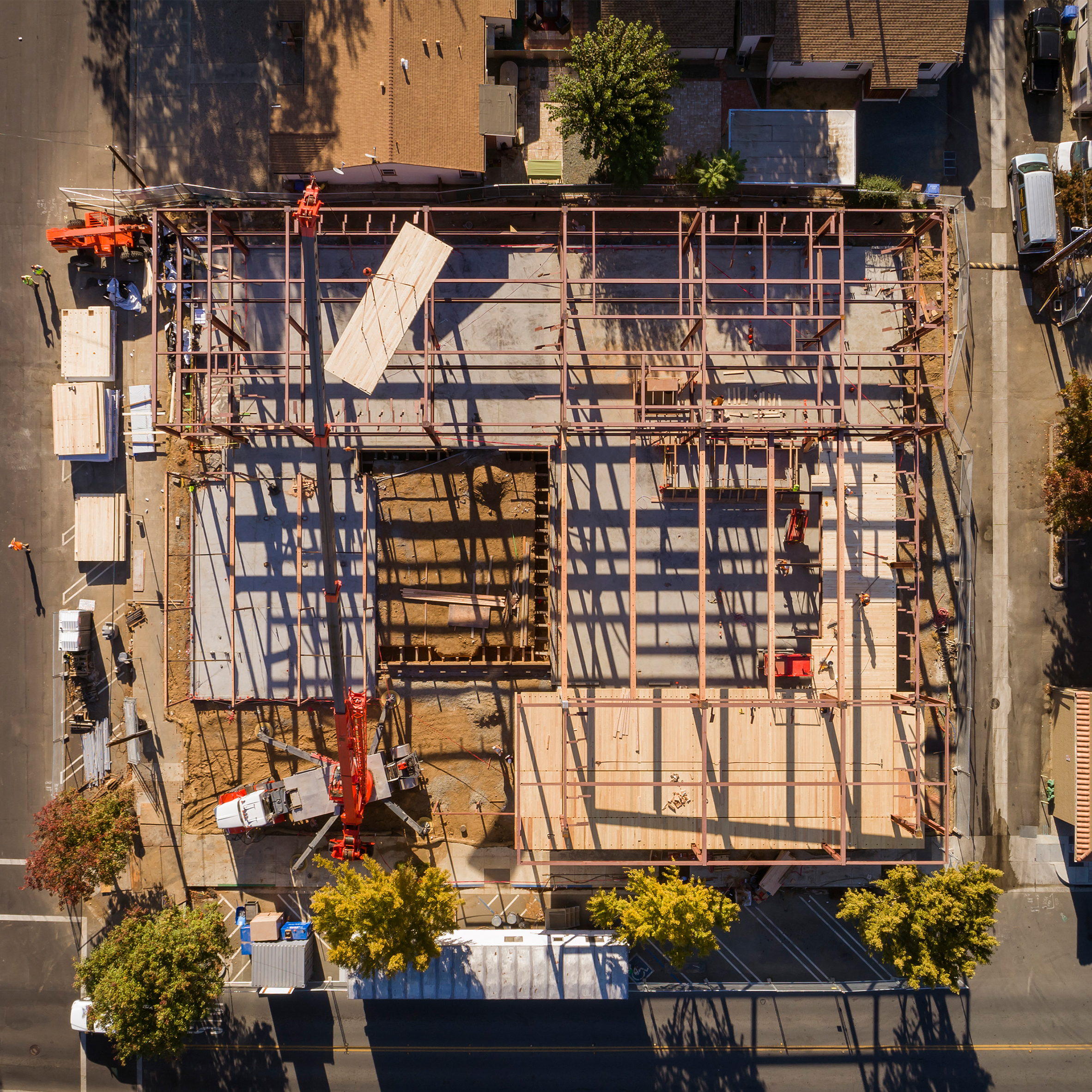 Aerial shot of Brentwood Public Library CLT Installation