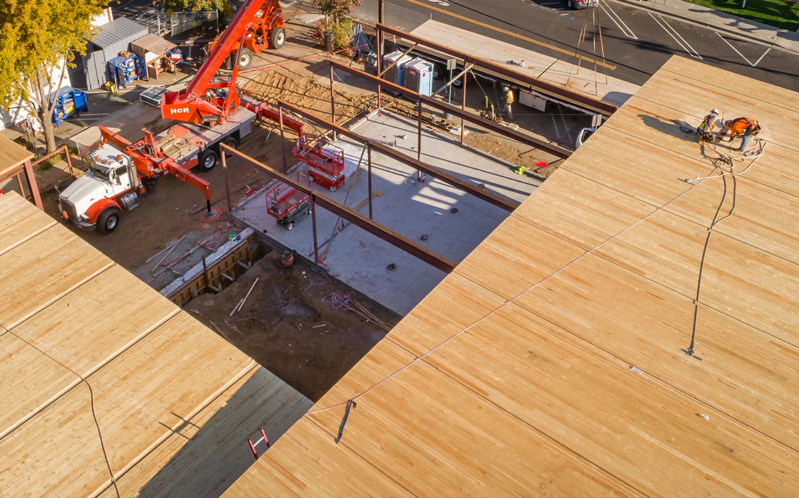 Aerial view of CLT roof at Brentwood Public Library