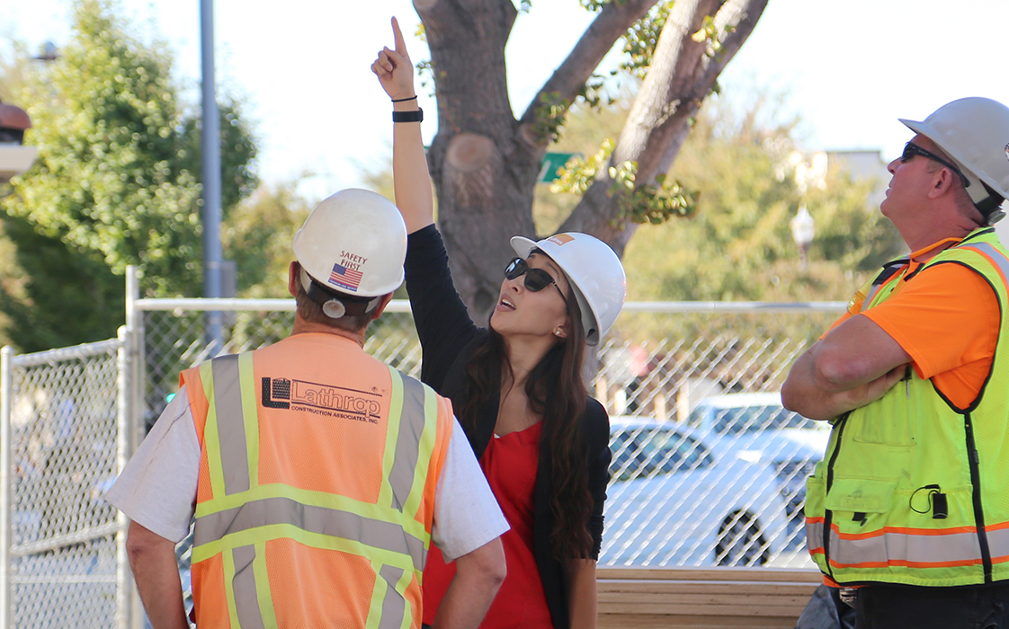 Holmes Structures engineer Megan Stringer onsite with Lathrop Construction