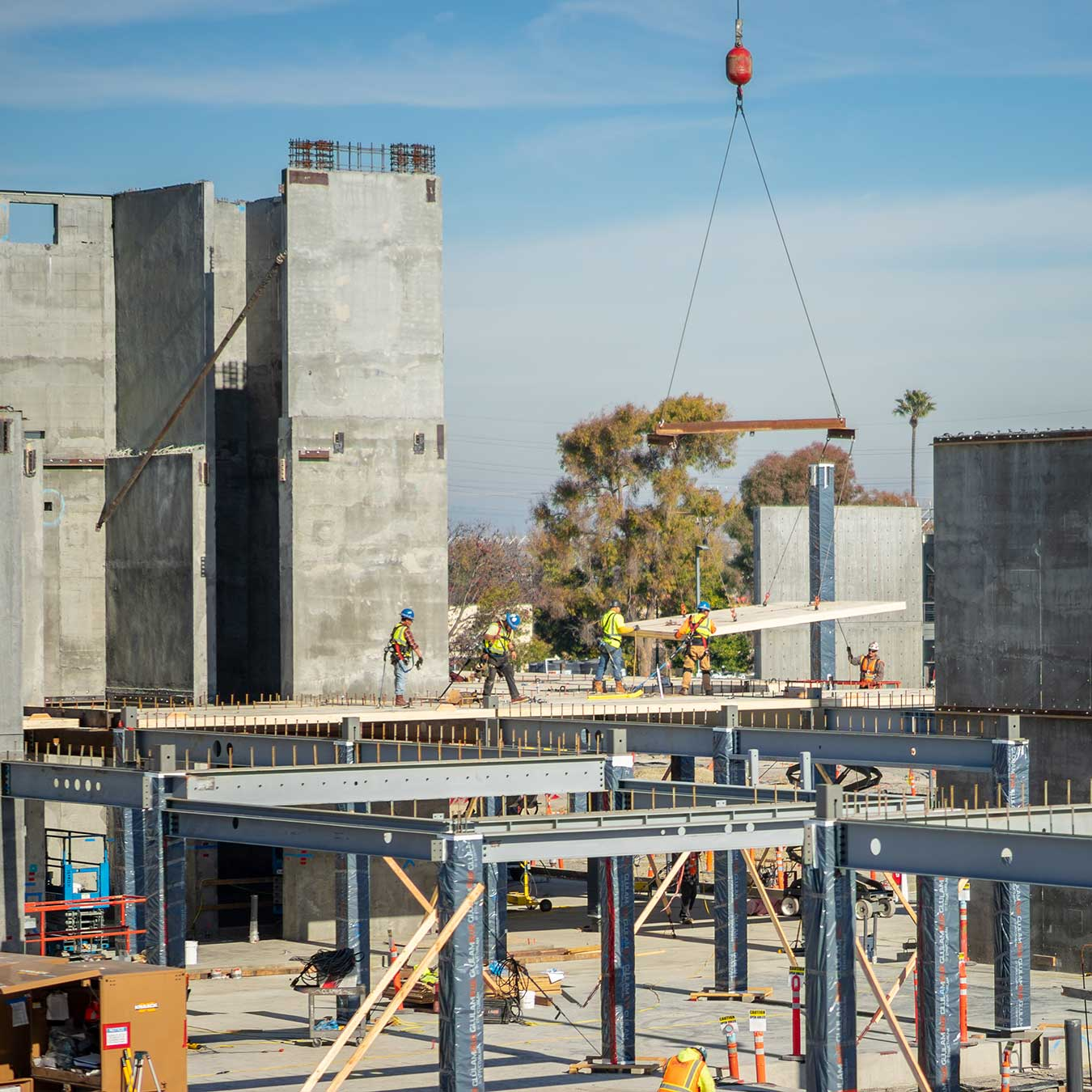 Mountain View corporate campus under construction with CLT panel installation