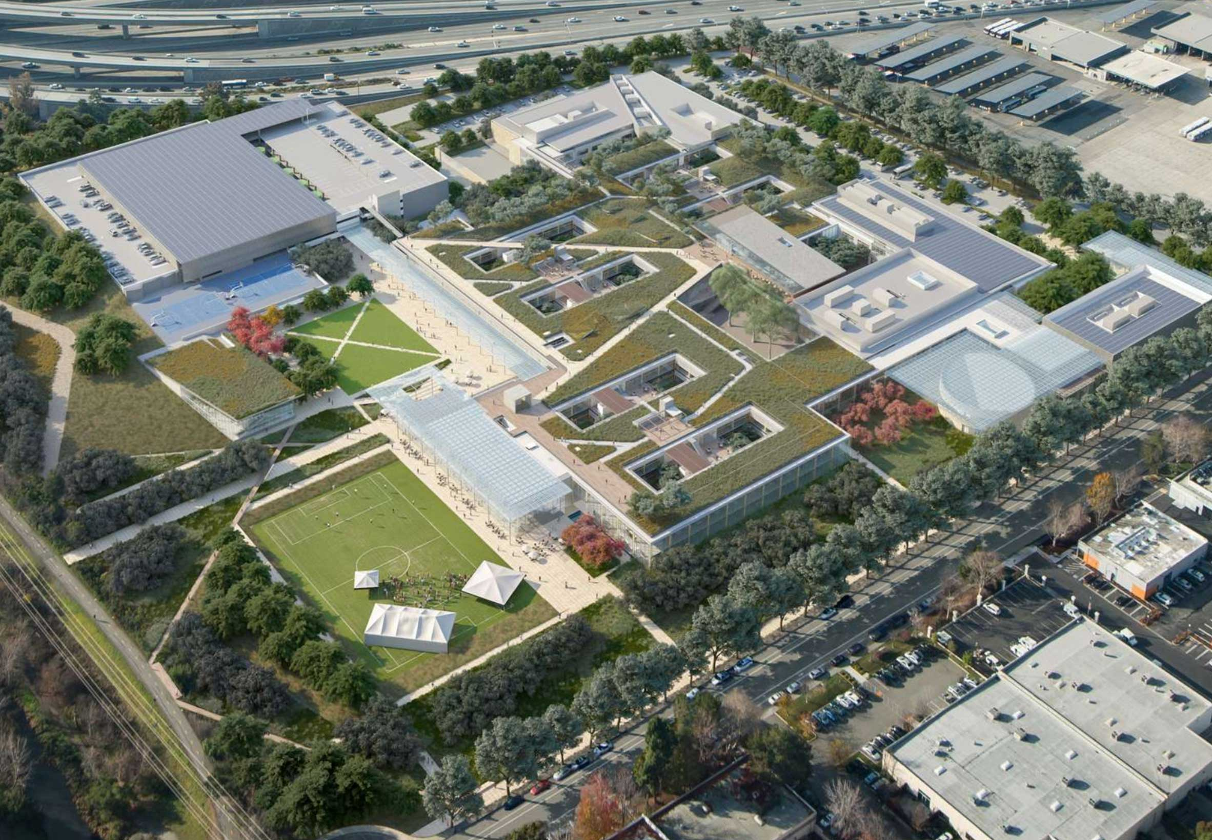 Aerial rendering of Mountain View corporate campus