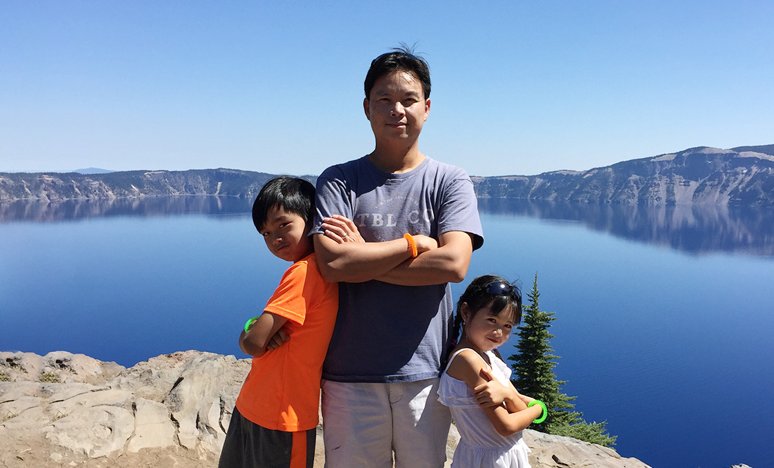 Ben Au of Holmes Structures at Crater Lake with Family