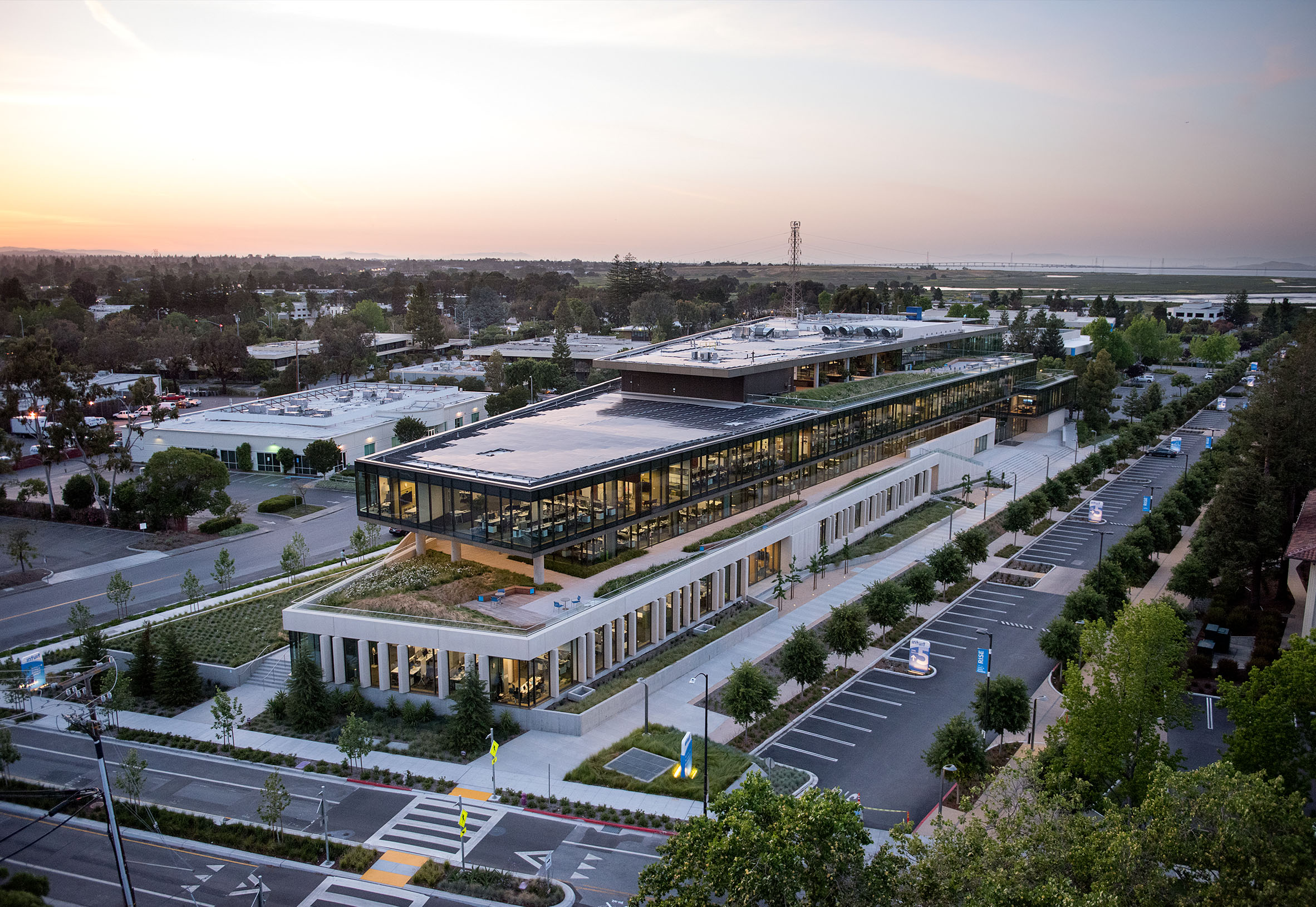 Intuit Campus View wat Sunset with Trees, Trapezoidal Lot Lines