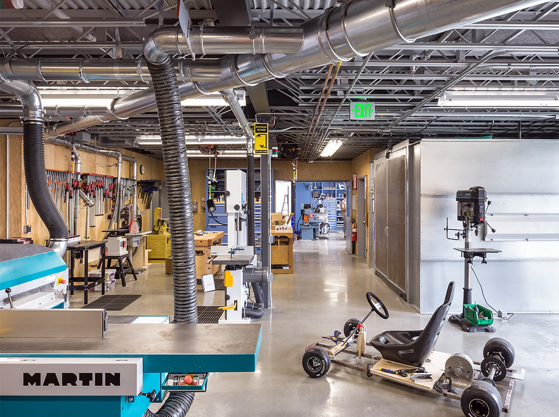 Autodesk Pier 9 San Francisco-Office Interior Shop with Machines.