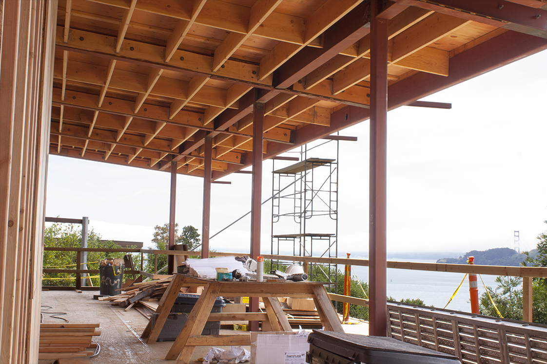 Eucalyptus Residence overhang in construction