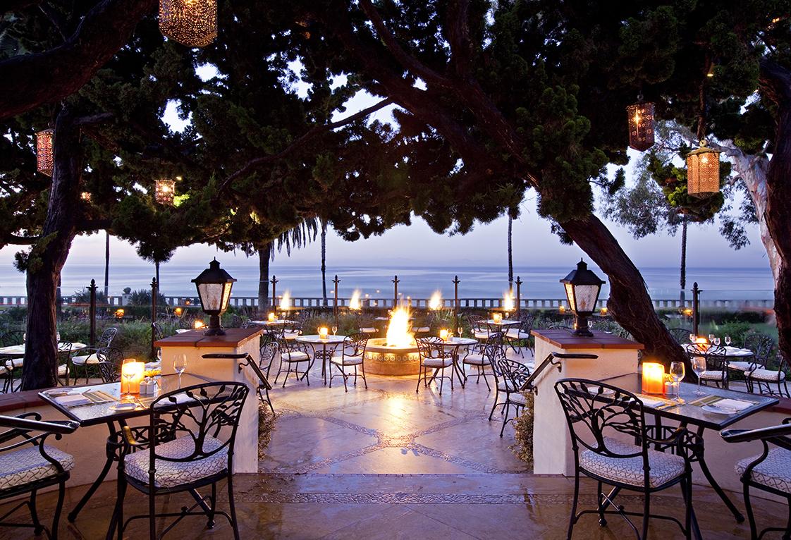 Four Seasons The Biltmore patio at dusk