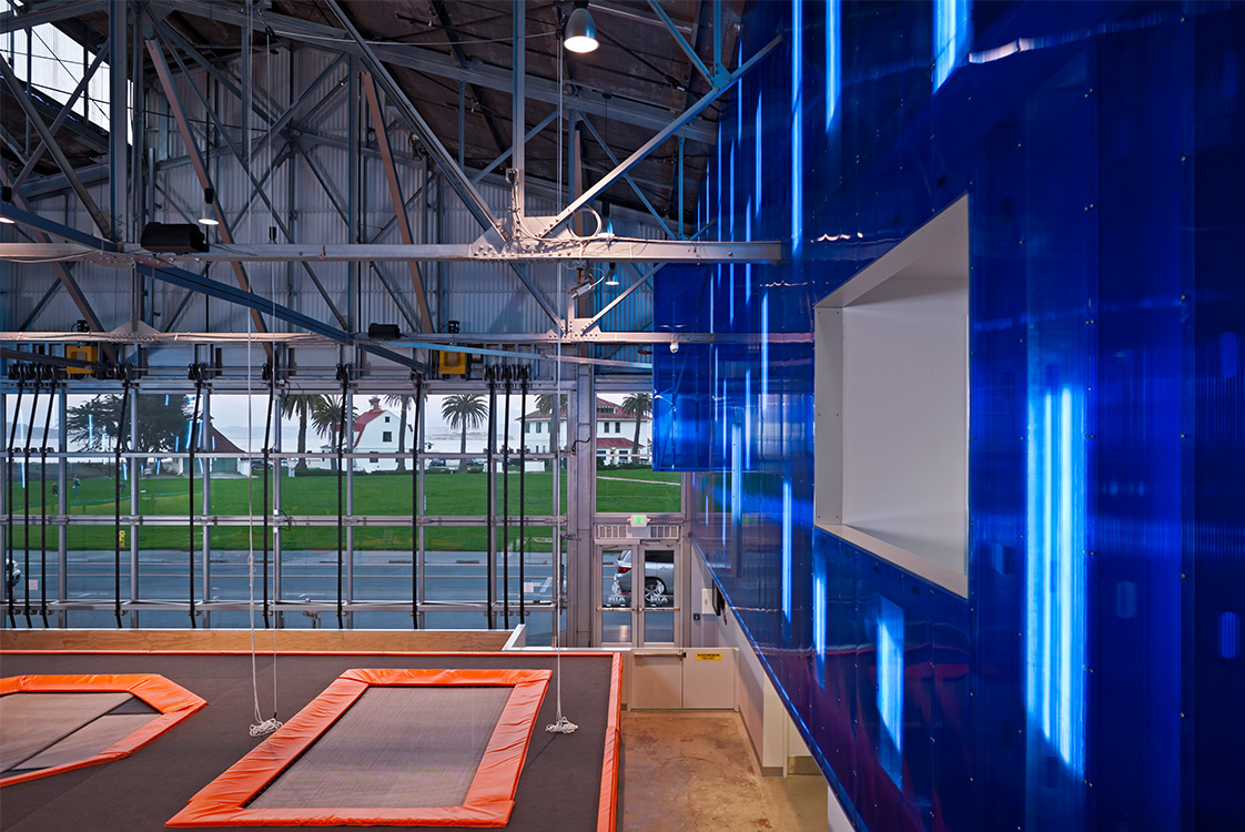 House of Air San Francisco Interior with Trampolines and Views of Presidio