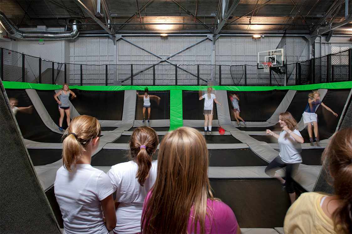 Presidio House of Air Girls Play Trampoline Basketball