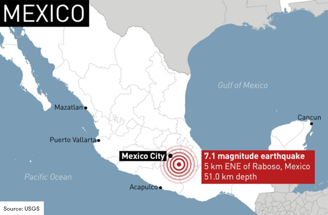 Map of the Central Mexico Earthquake epicenter and affected areas
