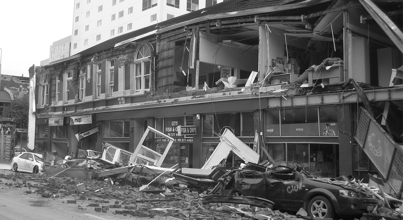 Collapsed building in Christchurch, New Zealand