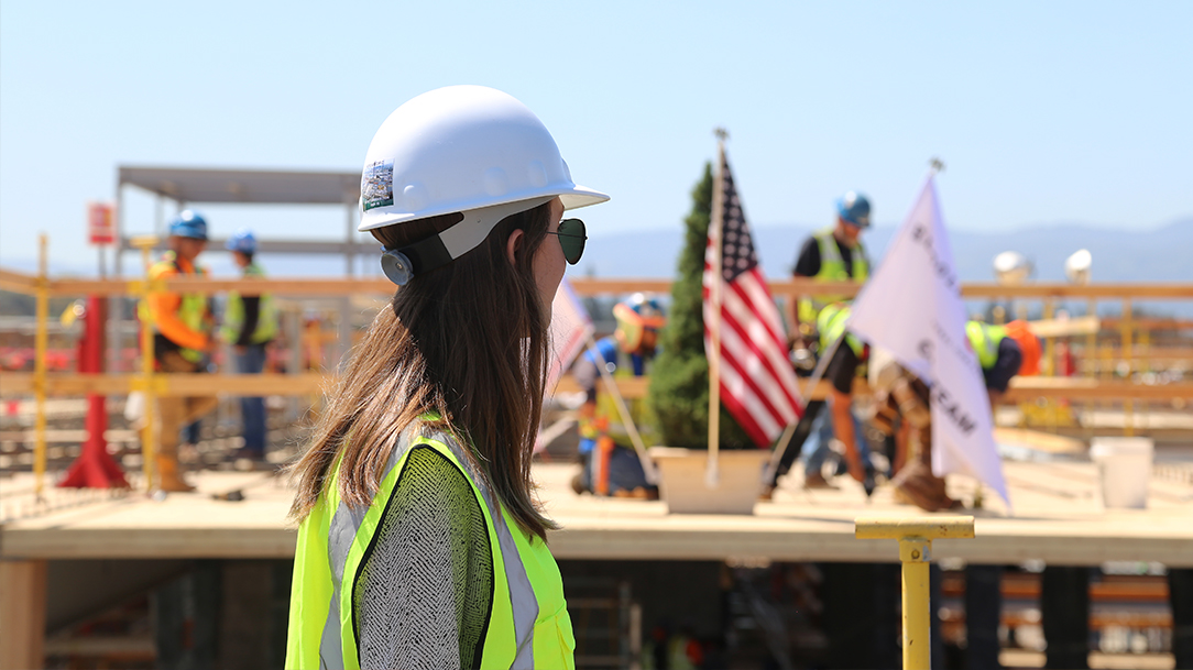 Topping off ceremony at Mass Timber Construction Site in Silicon Valley, California