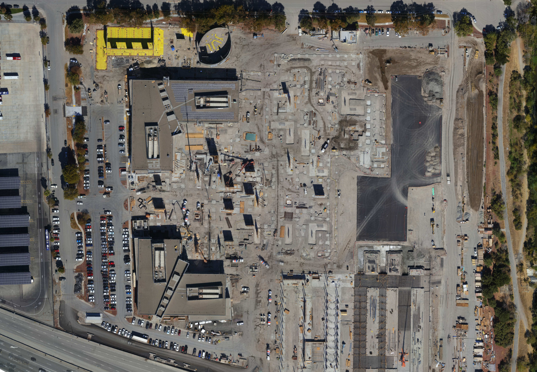 Aerial of corporate campus under construction