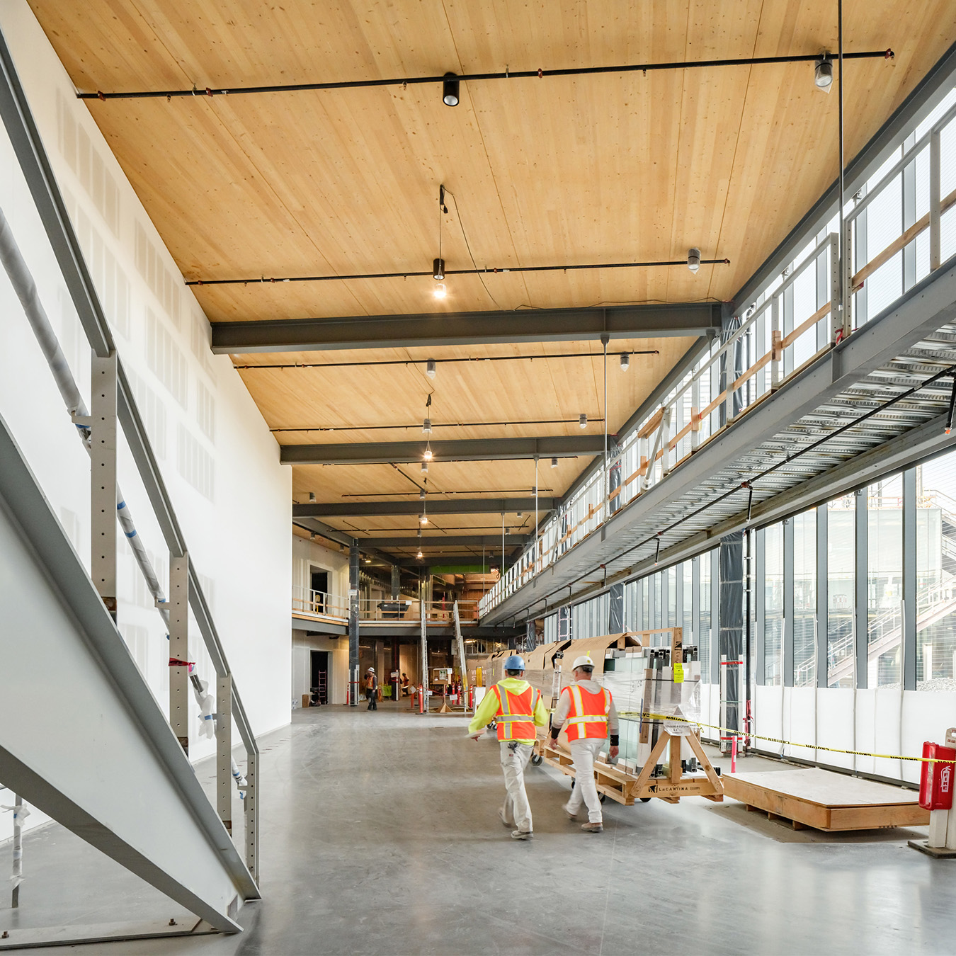 Mass Timber Construction Lobby with Workers Silicon Valley California