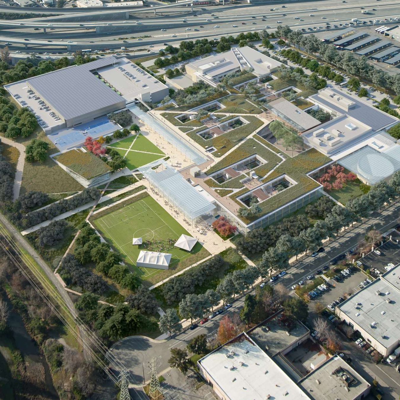 Aerial Rendering of Corporate Campus with largest CLT building in North America