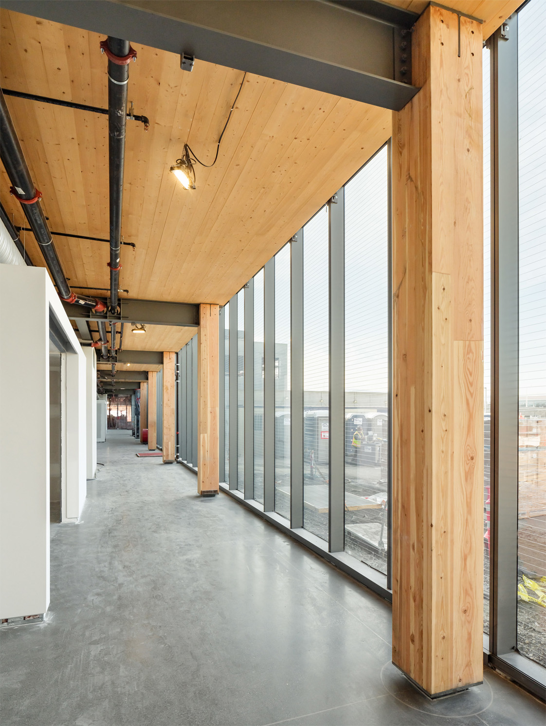 Exposed Mass Timber Glulam Column at Corporate Campus Mountain View