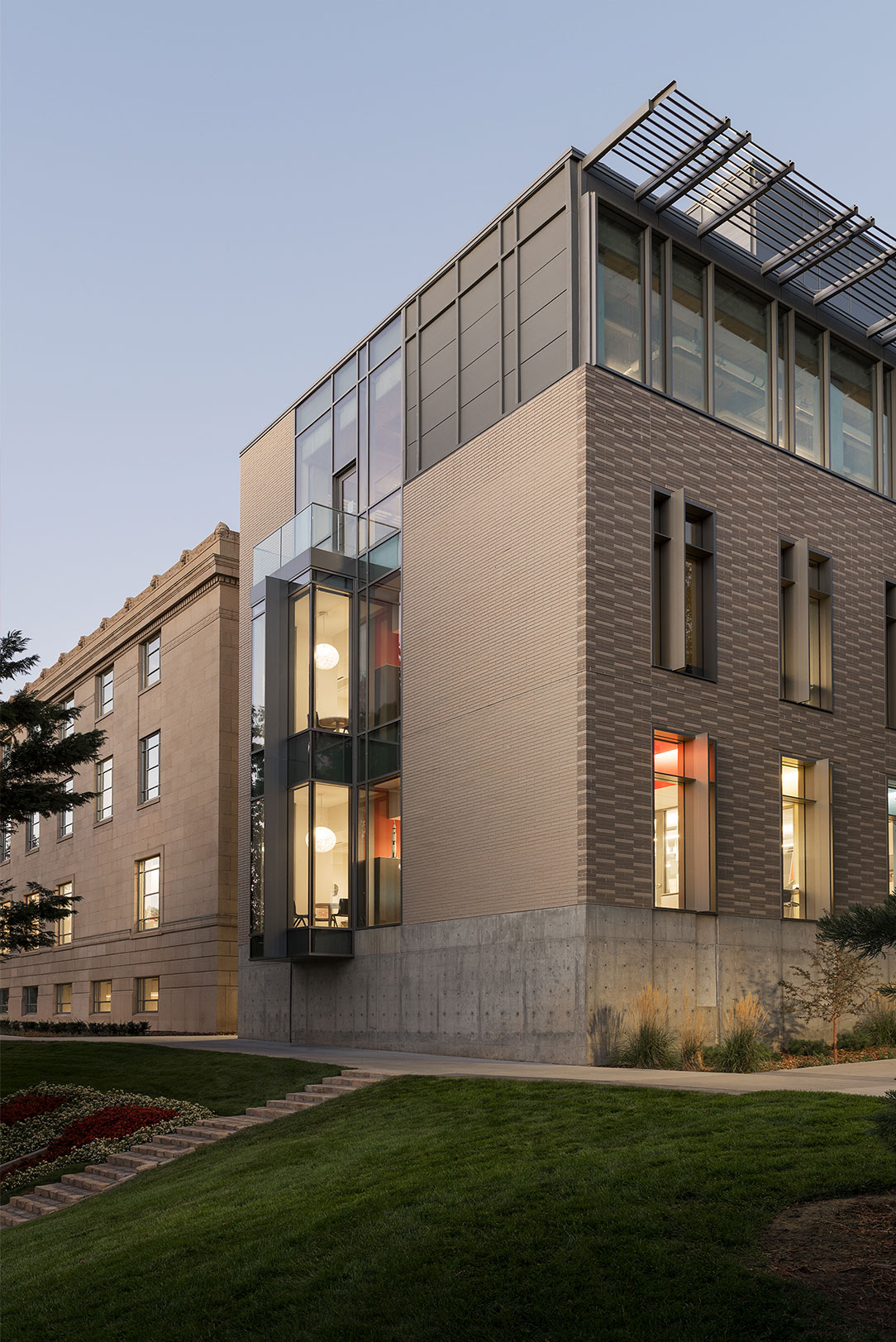 Exterior Facade of New Addition of Crocker Science Center taken at an angle with lawn