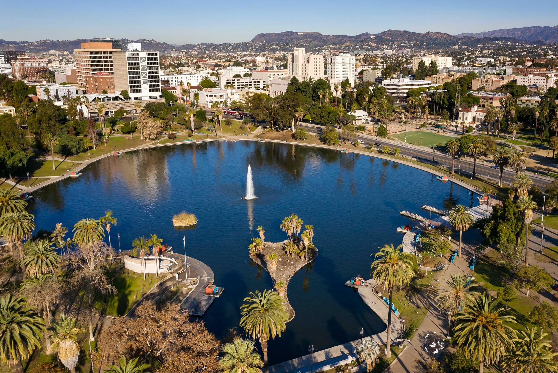 Aerial of MacArthur Park Los Angeles