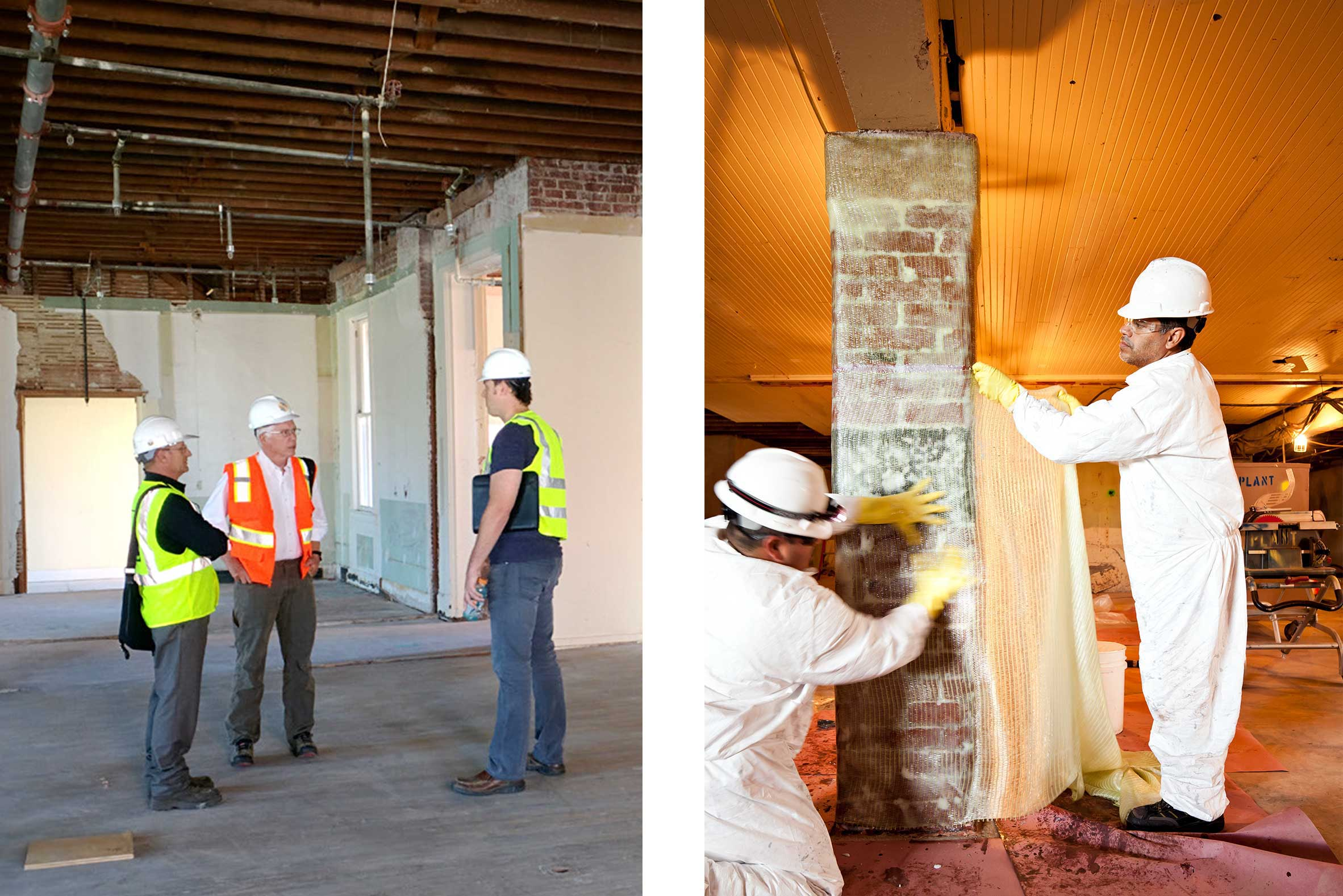 Engineer Examines Existing URM Building and Workers Apply FRP Strips to Brick Piers at The Presidio, San Francisco