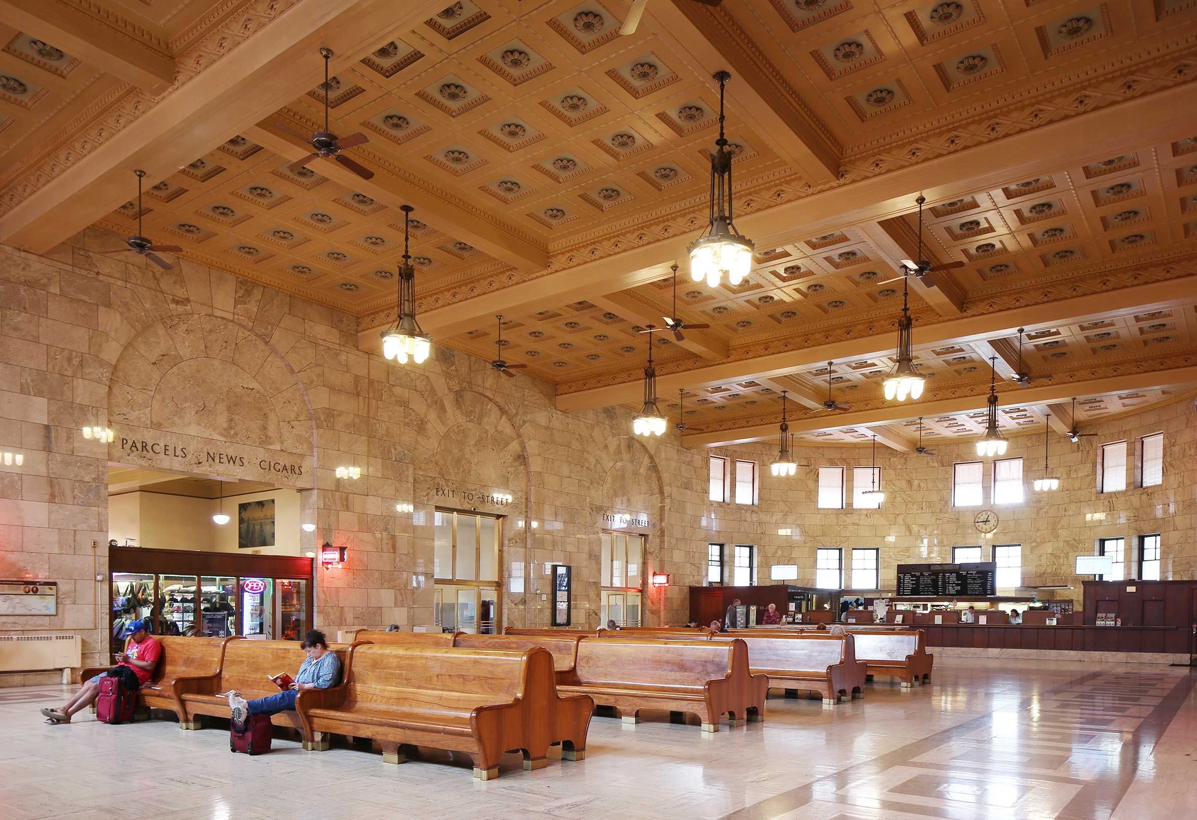 Historic Lobby of Portland Union Station, Portland Oregon, with Detailed Ceilings and Marble Floor