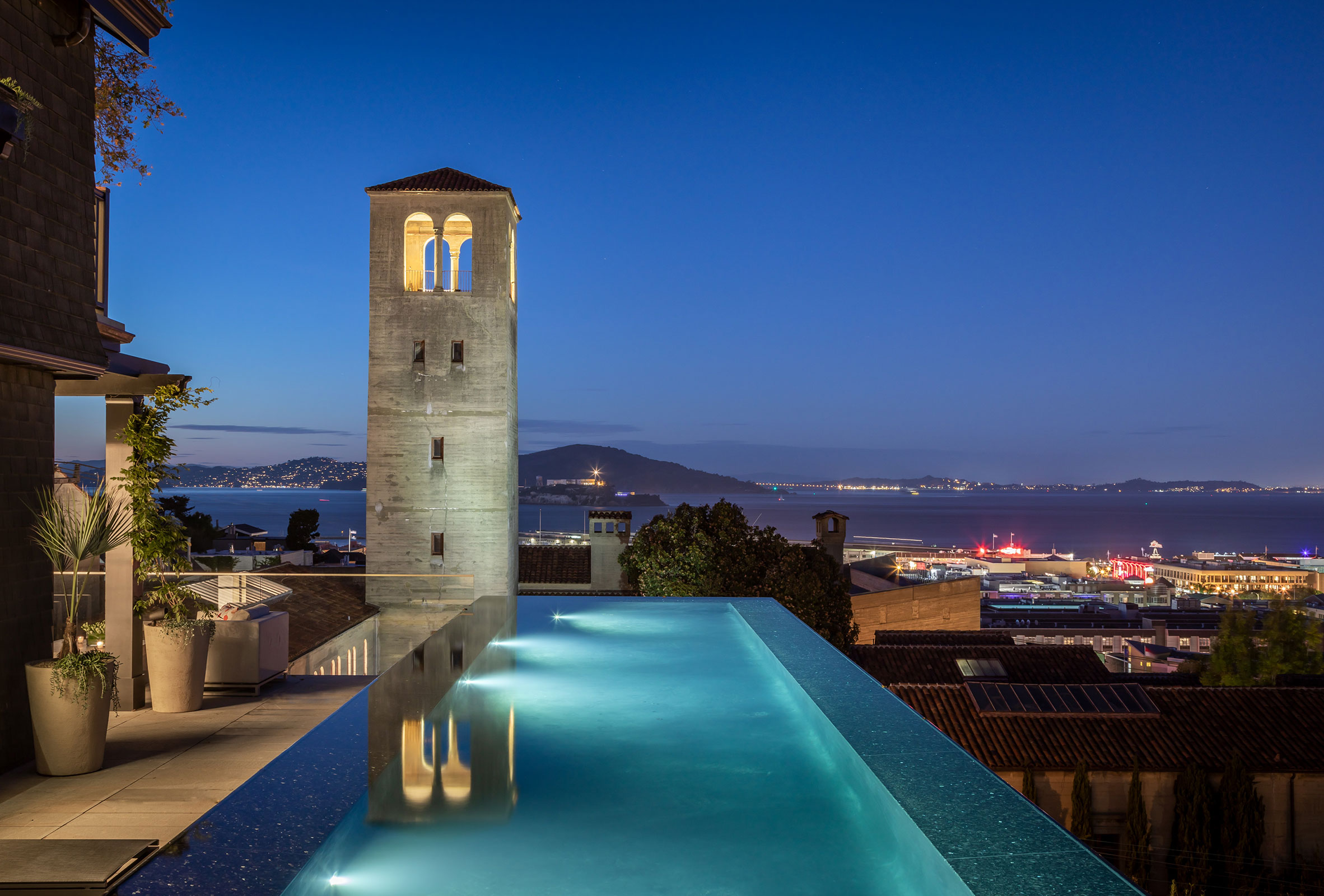 Cantilevered Pool of Residence 950 at Night with Bay Views